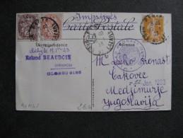 BLM 48 -TB C.P. Affranchie Avec N° 108, 109 Et 158;  De Paris Pour La Yougoslavie ( 19/ 01 / 1923 ) . - Marcophilie (Lettres)