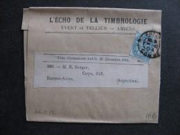 BLM 52 -TB B.J. Affranchie Avec N° 111;  De Amiens Pour L´Argentine ( ../ 10 / 1904 ) . - Marcophilie (Lettres)