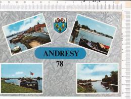 PENICHE   -    ANDRESY  -  Quai  Fin D  Oise  -  Bords De  Seine   -   4  Vues - Péniches
