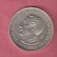 MEXICO 5 PESOS 1957 CONSTITUTION SILVER 18.05 GR. KM470 - Mexique