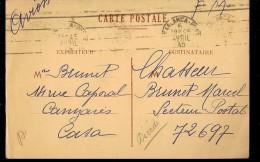 CPA  MARCOPHILIE CHASEUR BRUNET MARCEL  . S.P.72.697 ,F.M .Tampons. SARLANCA ? 1945 PAR AVION - Marcophilie (Lettres)