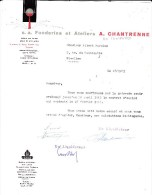 NIVELLES FONDERIES ET ATELIERS CHANTRENNE - Factures & Documents Commerciaux