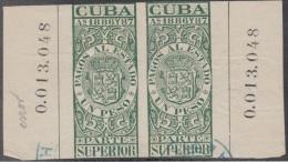 PAG-10 CUBA. SPAIN. ESPAÑA. REVENUE. FISCALES. 1886-87. PAGOS AL ESTADO. UN PESO. USADO. COMPOSICION: SUPERIOR- SUPERIOR - Timbres-taxe