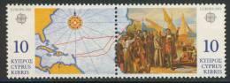 Cyprus Chypre Zypern 1992 Mi 790-791 ** Compass Rose + Map Voyage - Departure From Palos (painting Balaga) - Columbus - Christoffel Columbus