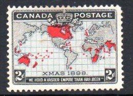 Canada QV 1898 Imperial Penny Postage Map Lavender, Unused No Gum - Usados