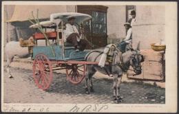 POS-1 CUBA. 1906. TARJETA POSTAL. HABANA. HAVANA. FRUIT VENDER CART.  CARRO CABALLOS VENDEDOR FRUTAS. A US. - Cuba