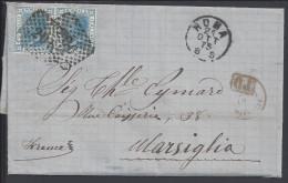 ITALIE - 1873 - PAIRE VICTOR EMMANUEL II SUR LETTRE DE ROME A DESTINATION DE MARSEILLE - - 1861-78 Victor Emmanuel II.