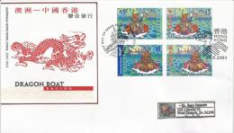 AUSTRALIE.HONG-KONG,  Emission Commune (Dragon Boat). Lettre FDC Adressée En Nouvelle-Zélande - Nouvel An Chinois