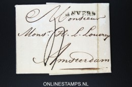 Belgium: Complete Letter From Antwerpen To Amsterdam 1815 Wax Sealed - 1815-1830 (Periodo Olandese)