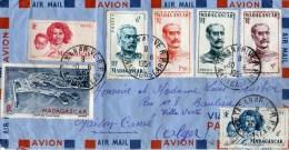 enveloppe  par avion  timbre madagascar  1954  tananarive
