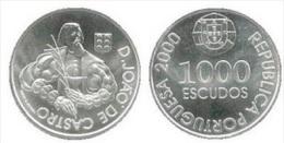 VF MOEDA DE PORTUGAL DE 1000 ESCUDOS D. JOÃO DE CASTRO  2000 SILVER - Portogallo