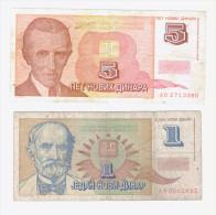 Banknote From Yugoslavia 1, 5 Dinara 1994( P-145, 146) - Yugoslavia