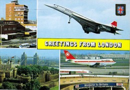 AK FLUGWESEN AERODROME AIRPORT LONDON BRITISH AIRWAYS AIR CANADA    ALTE POSTKARTE 1972 - Aérodromes