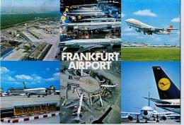 AK FLUGWESEN AERODROME FLUGHAFEN AIRPORT FRANKFURT AM MAIN  ALTE POSTKARTE 1981 - Aérodromes