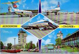 AK FLUGWESEN AERODROME FLUGHAFEN AIRPORT ZAGREB JAT  ALTE POSTKARTE - Aérodromes
