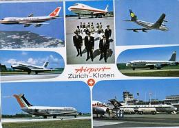 AK FLUGWESEN AERODROME AIRPORT ZÜRICH - KLOTEN   ALTE POSTKARTE 1972 - Aérodromes