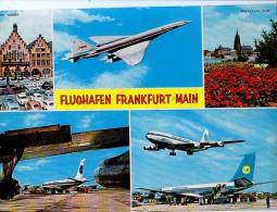 AK FLUGWESEN AERODROME AIRPORT FLUGHAFEN FRANKFURT AM MAIN ALTE POSTKARTE 1973 - Aerodrome
