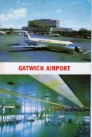 AK FLUGWESEN AERODROME AIRPORT FLUGHAFEN GATWICK AIRPORT ALTE POSTKARTE 1968 - Aerodrome