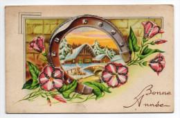 BONNE ANNEE---carte Double-Fleurs Et Fer à Cheval-Paysage De Neige Et Pont-grains De Givre  éd  MD - Nouvel An