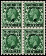 MOROCCO AGENCIES-FRENCH 1924+ ½d Gr. OVPT:5c 4-BLOCK    [Aufdruck,surimprimé,sobr Eimpreso,soprastampato] - Great Britain (former Colonies & Protectorates)