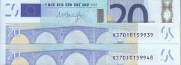 GERMANIA GERMANY 20 EURO 2002 DRAGHI SERIE X 37010159948 E008B5 UNC FDS 2/2 - EURO
