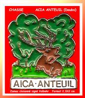 "SUPER PIN�S CHASSE : ACIA ANTEUIL ""Doubs"" en zamac cloisonn� base Or sign� Valbhor"