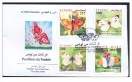 Tunisia 2014 FDC Butterflies/ Tunisie 2014 Envelope Premier Jour Papillons - Tunesien (1956-...)