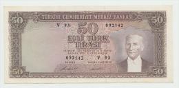 TURKEY 50 LIRA 1970 (1971) XF++ AUNC PICK 187A - Turchia