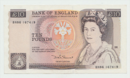 Great Britain 10 Pounds ND (1984 - 1986) AXF+ Pick 379c - 1952-… : Elizabeth II