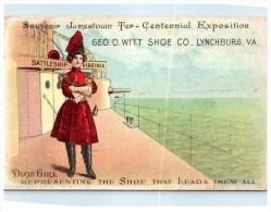 21574   Dixie Girl Shoe  Advertising,  Jamestown Ter-Centennial Expo   Battleship Virginia - Advertising