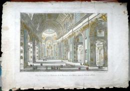 VUE D´OPTIQUE ROME LA BASILIQUE SAINT PIERRE BELLE PERSPECTIVE COLOREE AUTHENTIQUE ET ORIGINALE - Estampes & Gravures