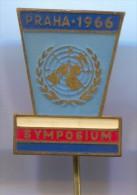 UNITED NATIONS, Nations Unies - Symposium 1966. PRAHA Czechoslovakia,  vintage pin badge, enamel