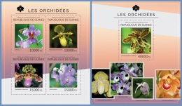 gu14516ab Guinea 2014 Orchids 2 s/s