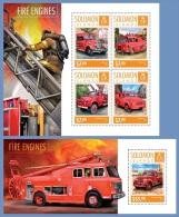 slm14616ab Solomon Is. 2014 Fire engines 2 s/s