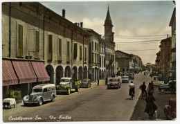 Castelfranco Emilia (Modena). Via Emilia. Auto - Car - Voitures. Pubblicità Pezziol Cynar. - Modena