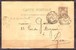 CP Entier   De  PARIS  7 R.DES HAUDRIETTES  Le 3 Janv 1894  Pour  LYON Rhone  SAGE 10c - Cartoline Postali E Su Commissione Privata TSC (ante 1995)