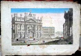 VUE D´OPTIQUE ROME EGLISE SAINT JEAN DE LATRAN  BELLE PERSPECTIVE COLOREE AUTHENTIQUE ET ORIGINALE - Estampes & Gravures