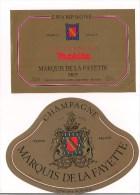 Etiquettes Champagne Marquis De La Fayette  Brut Et Cuvée Anniversaire Makita - Epernay - - Champagne