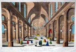 VUE D´OPTIQUE PARIS INTERIEUR DE L´EGLISE SAINT SULPICE   BELLE PERSPECTIVE COLOREE AUTHENTIQUE ET ORIGINALE - Prenten & Gravure