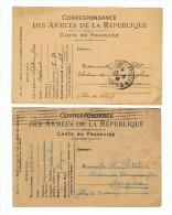 CORRESPONDANCE DES ARMEES - LOT 2 CPA -  CARTE EN FRANCHISE ADRESSEE AU CHATEAU DE BOUQUINHEN à MARQUISE , 62 - Oorlog 1914-18