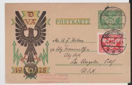 WGA348/ Verkehrsausstellung 1925.Ganzsache + Marke Zum Selben Anlass Nach USA - Deutschland