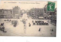 Dunkertque Place De La Gare Et Avenue Thiers ( Guynemer Calèche Tramway Coin Non Encore Construit - Dunkerque