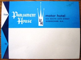 HOTEL MOTOR MOTEL PARLIAMENT BIRMINGHAM LONDON UK ENGLAND GREAT BRITAIN STICKER DECAL LUGGAGE LABEL ETIQUETTE AUFKLEBER - Etiquettes D'hotels