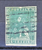 Toscana 1857-59 2° Em, N. 6 Cr. 4 Verde VARIETA' Cornice Rotta, Grandi Margini Annullo Muto 5 Sbarre (Biondi) Cat € - Toscana