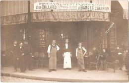 Dépt 75 - PARIS (19ème) - Carte-photo Devanture Café MASSIGOUX (angle Av. De Flandre Et Rue De L'Ourcq) - Billard Hénin - Arrondissement: 19