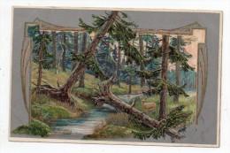 Geprägtem Postkarte 1908 - (Unterholz - Fichte) - Cpa Pionnière Gaufrée (sous Bois Dans Les Sapins) - Illustrateurs & Photographes