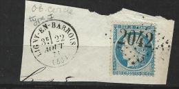 """YT 37 Sur Fragment """" Cérès 20c.bleu """" 1870 GC 2042 LIGNY-EN-BARROIS - 1870 Siege Of Paris"""