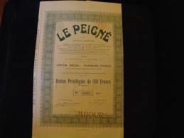 """Action Privilégiée""""Le Peigné""""Capital Social 10 000 000F Verviers  1924.Laine,textile. - Textile"""