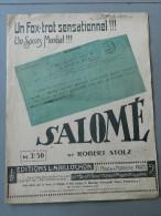 Un Fox-Trot Sensationnel - SALOMÉ - Robert Stolz - 1920 - Éditions Maillochon - Instruments à Clavier