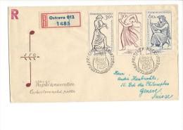 11487 - FDC Recommandé 150 Let Prazske Konservatore Ostrava Pour Genève 1961 - Lettres & Documents